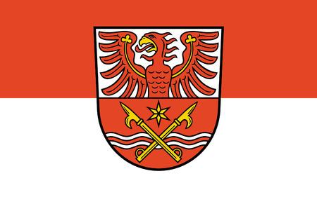 brandenburg: Flag of Markisch-Oderland is a district in the eastern part of Brandenburg, Germany. 3d illustration Stock Photo