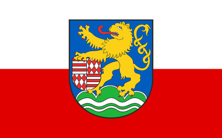 district': Flag of Kyffhauserkreis is a district in the northern part of Thuringia, Germany Stock Photo