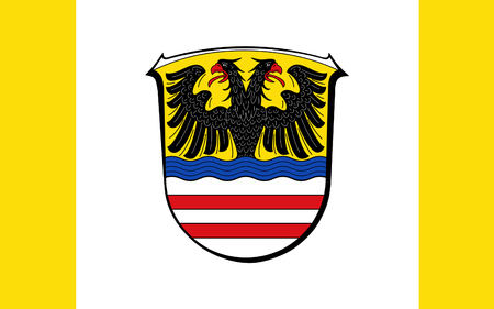 frankfurt germany: Flag of Wetteraukreis is a district in the middle of Hesse, Germany. 3d illustration Stock Photo
