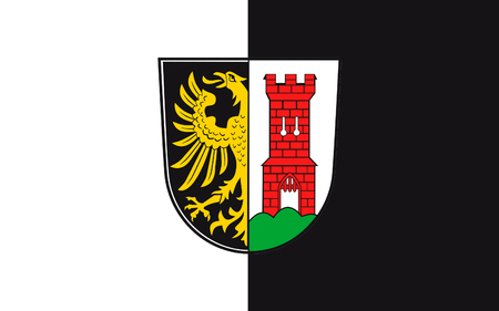 bavaria: Flag of Kempten is the largest town of Allgaeu, in Swabia, Bavaria, Germany. 3d illustration