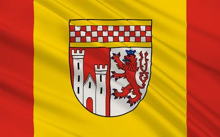 north rhine westphalia: Flag of Oberbergischer Kreis is a district in the state of North Rhine-Westphalia, Germany. 3d illustration