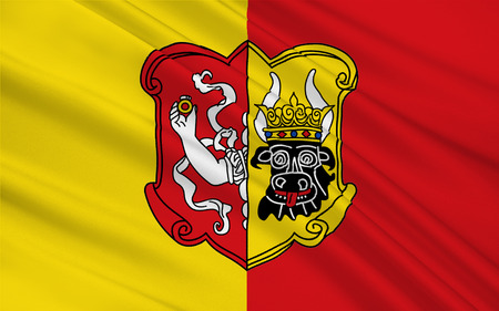 Flag of Neustrelitz is a town in the Mecklenburgische Seenplatte district in the state of Mecklenburg-Vorpommern, Germany. 3d illustration