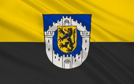 north rhine westphalia: Flag of Bergheim is a city of the Rhein-Erft-Kreis of North Rhine-Westphalia, Germany. 3d illustration