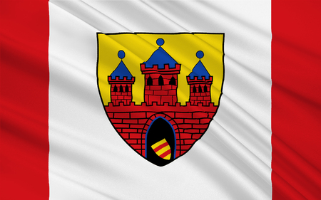 deutsch: Flag of Oldenburg is an independent city in the state of Lower Saxony, Germany. 3d illustration