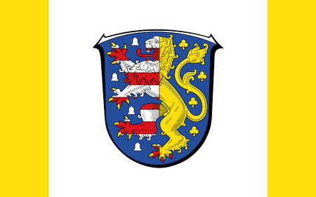 frankfurt germany: Flag of Hochtaunuskreis is a district in the middle of Hesse, Germany. 3d illustration