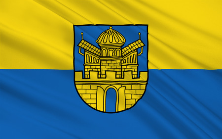 municipality: Flag of Boizenburg is a municipality in the Ludwigslust-Parchim district, in Mecklenburg-Western Pomerania, Germany. 3d illustration