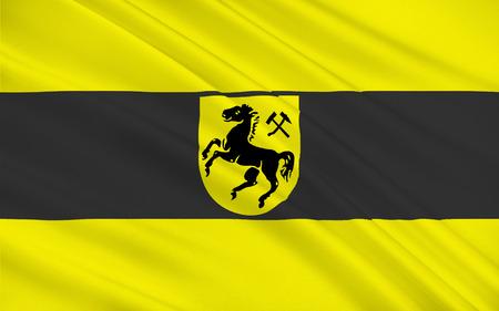 north rhine westphalia: Flag of Herne is a city in North Rhine-Westphalia, Germany. 3d illustration