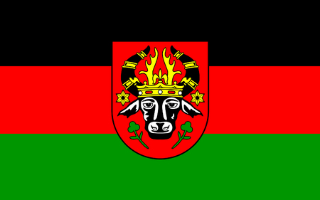Flag of Parchim is a town in Mecklenburg-Vorpommern, Germany. 3d illustration Stock Photo