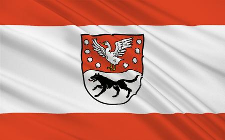 Flag of Prignitz is a district in the northwestern part of Brandenburg, Germany. 3d illustration