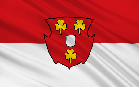 westfalen: Flag of Cleves is a town in the Lower Rhine region of northwestern Germany. 3d illustration