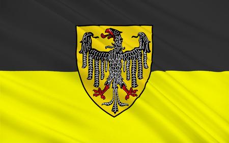 westfalen: Flag of Aachen town in North Rhine-Westphalia, Germany. 3d illustration Stock Photo