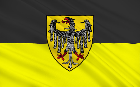 Flag of Aachen town in North Rhine-Westphalia, Germany. 3d illustration Stock Photo