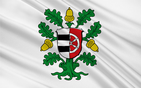 hessen: Flag of Offenbach is a district in the south of Hesse, Germany. 3d illustration