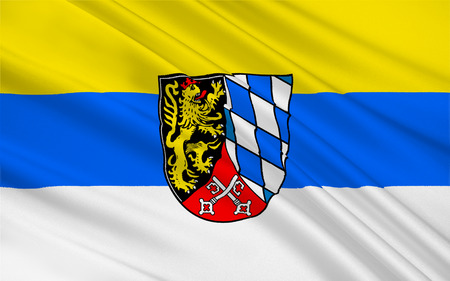 upper: Flag of Upper Palatinate is one of the seven administrative districts of Bavaria, Germany. 3d illustration