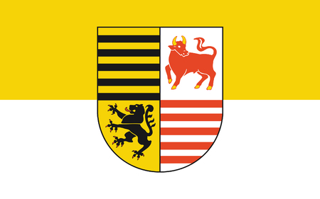 brandenburg: Flag of Elbe-Elster is a district in the southern part of Brandenburg, Germany. 3d illustration Stock Photo