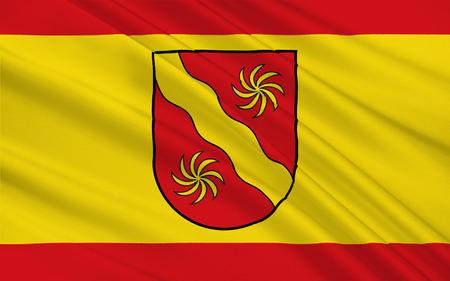 north rhine westphalia: Flag of Warendorf is a district in the northern part of North Rhine-Westphalia, Germany. 3d illustration