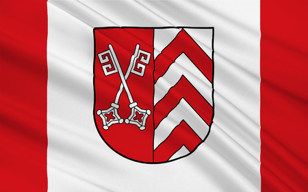 north rhine westphalia: Flag of Minden-Lubbecke is a district in the northeastern part of North Rhine-Westphalia, Germany. 3d illustration Stock Photo