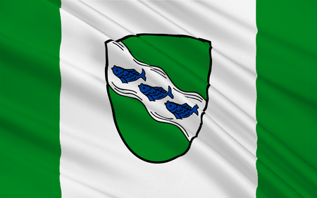 bavaria: Flag of Ansbach is a city in the German state of Bavaria. 3d illustration