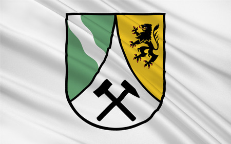 ore: Flag of Saxon Switzerland-East Ore Mountains is a district in the Free State of Saxony, Germany. 3d illustration