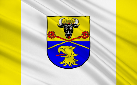 mecklenburg western pomerania: Flag of Rostock is a district in the north of Mecklenburg-Vorpommern, Germany. 3d illustration