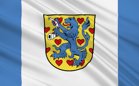 district': Flag of Gifhorn is a district in Lower Saxony, Germany. 3d illustration Stock Photo
