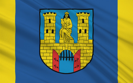 burg: Flag of Burg bei Magdeburg is a town in Saxony-Anhalt, Germany. 3d illustration