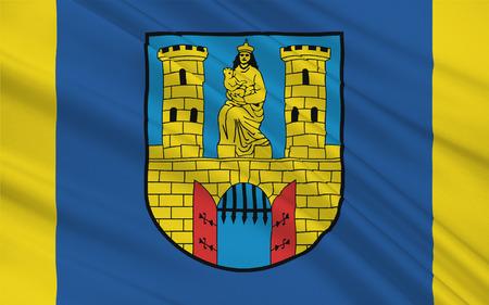 burg: Flag of Burg bei Magdeburg is a town in Saxony-Anhalt, Germany. 3d illustration