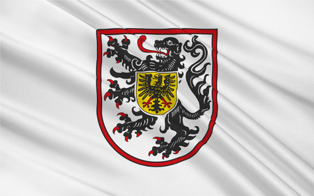 Flag of Landau in der Pfalz is an autonomous town of southern Rhineland-Palatinate, Germany Stock Photo