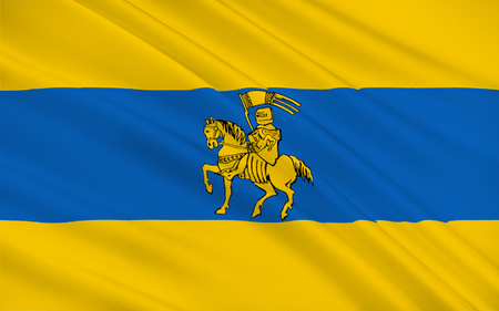 Flag of Schwerin is the capital and second-largest city of the northern German state of Mecklenburg-Vorpommern Stock Photo