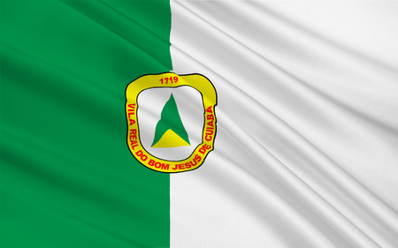 Flag of Cuiaba is the capital city of the Brazilian state of Mato Grosso. 3d illustration