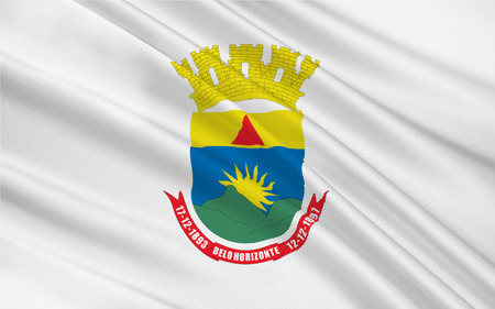 Flag of Belo Horizonte is the sixth largest city in Brazil. 3d illustration Stock Photo