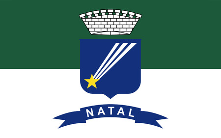 natal: Flag of Natal is the capital city of Rio Grande do Norte state, Brazil. 3d illustration