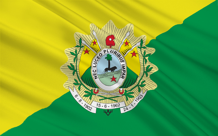 acre: Flag of Acre is a state in the northern region of Brazil. 3d illustration