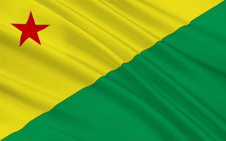 Flag of Acre is a state in the northern region of Brazil. 3d illustration