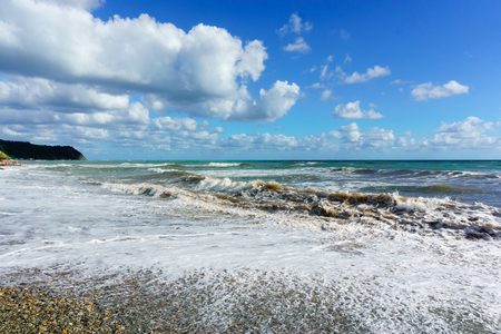 Stormy Black Sea and blue sky in Sochi, Krasnodar region Stock Photo