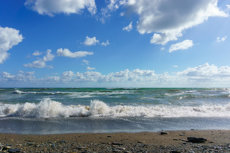 krasnodar region: Stormy Black Sea and blue sky in Sochi, Krasnodar region Stock Photo