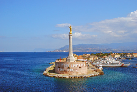 patron: Messina Port and the blessing of a golden Madonnina Stock Photo