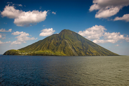 eruptive: Stromboli volcanic island in Lipari, viewed from the ocean, Sicily, Italy.