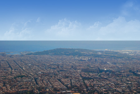 catalunia: Panorama of the city of Barcelona from Mount Tibidabo