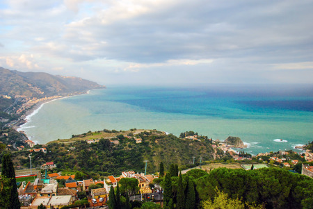 Landscape from village of Taormina, Sicily. Italy