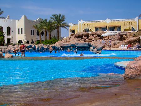 naama bay: Sharm El Shaikh, Egypt - March 28, 2007: Swimming pool in Hotel Club El Faraana