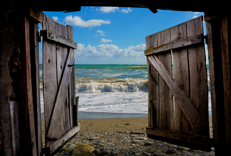 Gates to summer. View of the stormy Black Sea