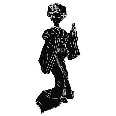 Geisha black silhouette Vector illustration Ilustração