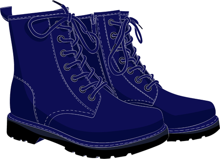 Boots blue isolated on white. Vector illustration