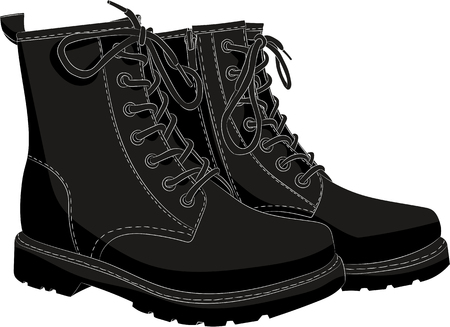 Boots black isolated on white. Vector illustration Vectores