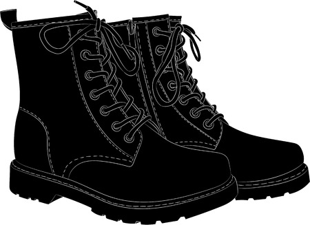Boots black isolated on white. Vector illustration  イラスト・ベクター素材