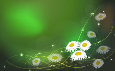 Spring abstract floral background with flower chamomile. Vector illustration Illustration