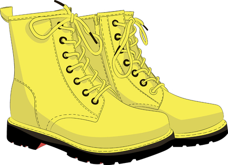 Boots yellow isolated on white. Vector illustration