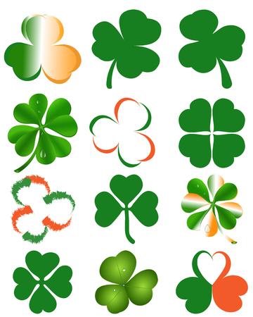 Set of clover leaves - St. Patricks day symbol. Vector illustration Illustration