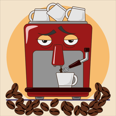 Coffee machine with coffee cups and coffee beans. Vector illustration